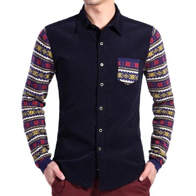 Corduroy Fashion Shirt for Men with Snowflake print on sleeves
