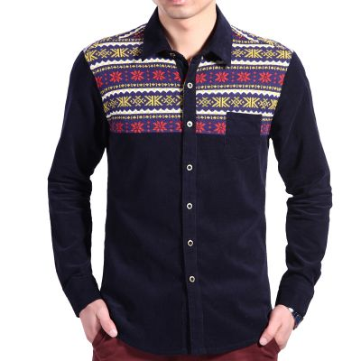 Corduroy Shirt for Men with Snowflake Pattern Shoulder