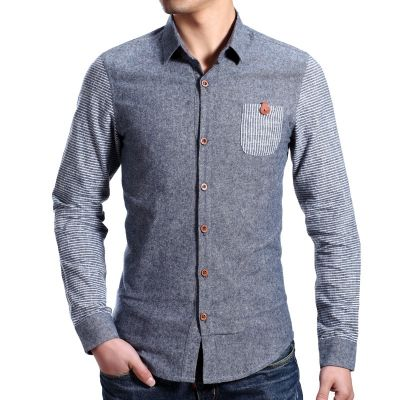 Chambray Fashion Coton Shirt Men with Two Tone Sleeves
