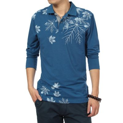 Long sleeve polo shirt with winter Snowflake print on shoulder