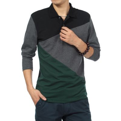 Long sleeve polo shirt with geometric tricolor pattern