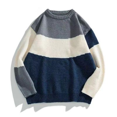 Crew neck knitted sweater for men with muti color design