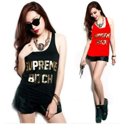 Swag Tanktop for Women Supreme B*tch Gold Print