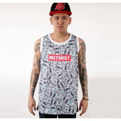 Money 100$ Bills Print Tanktop Hip Hop Benjamin Franklin