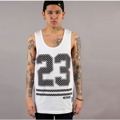 Sports Tanktop Basketball Jersey #23 T shirt - White and Black