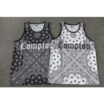 Bandana Print Compton Black and White Tank top Mesh Jersey