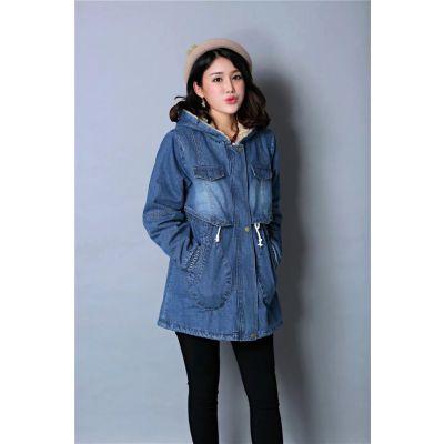 Denim long hooded coat for women