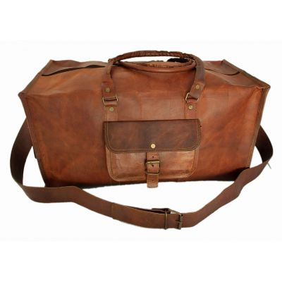 Vintage leather duffle bag sports style Square 24 inches