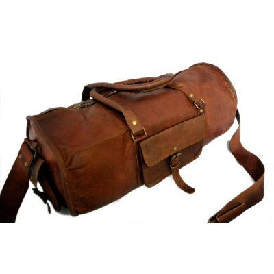 Vintage leather duffle bag sports style Round 24 inches
