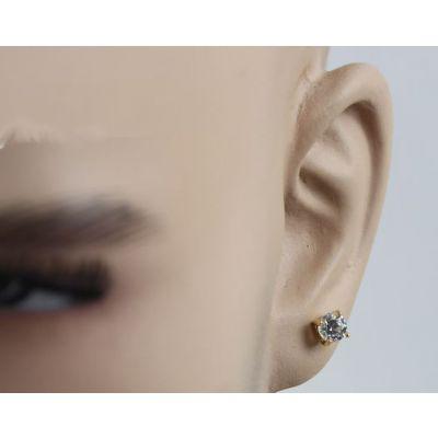 Round Diamond Stud Hip Hop Earrings for Men 6 MM