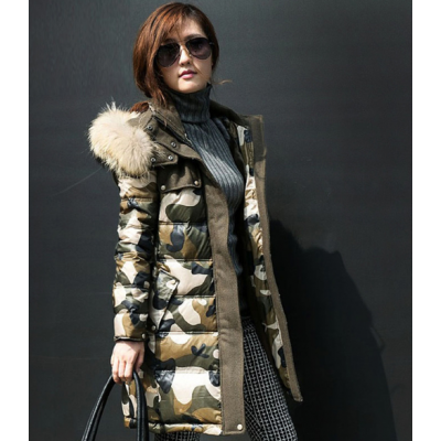 Long Camo Winter Parka for Women with Fur Lined Hood