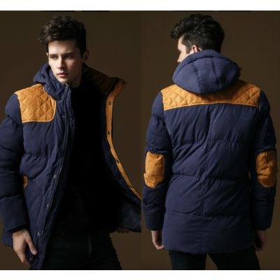 Long Padded Winter Coat for Men Removable Hood Faux Suede Patches