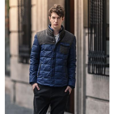 Short Padded Winter Jacket for Men with Shoulder Fleece Patch and Lining