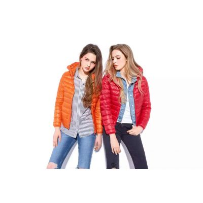 Classic straight collar down jacket for women
