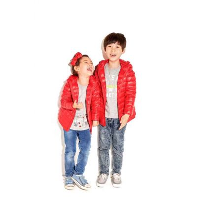 Classic hooded winter down jacket for children