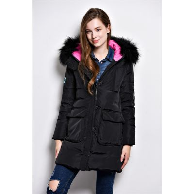Long padded winter coat for women with fur hood and color contrast