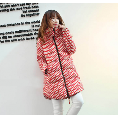 Long Dotted Winter Parka for Women with Large Collar