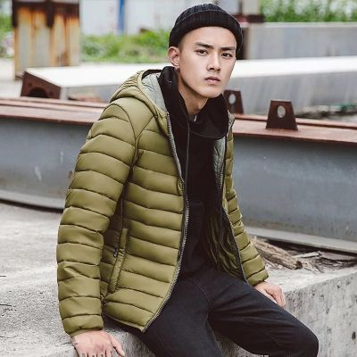 Padded winter puff jacket for men with hood and contrast interior