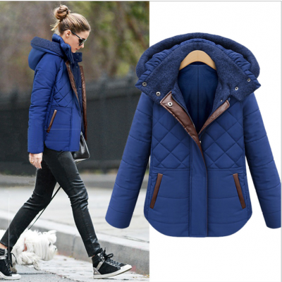 Padded Winter Hooded Jacket for Women with Faux Leather Lining