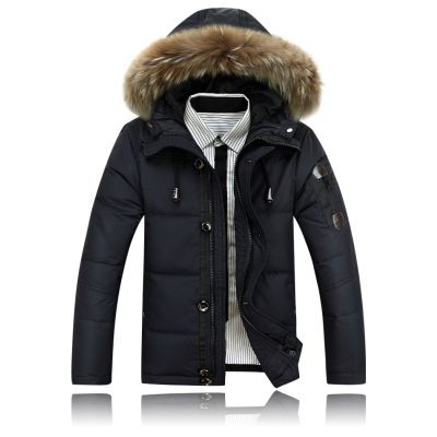 Short Padded Winter Parka for Men with Classic Fur Lined Hood