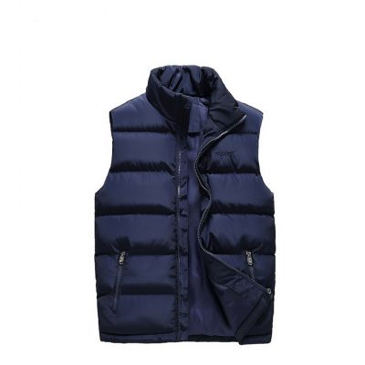 Sleeveless jacket for men with high collar and zipped pockets
