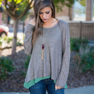 Pullover jumper for women with inside t-shirt long sleeves