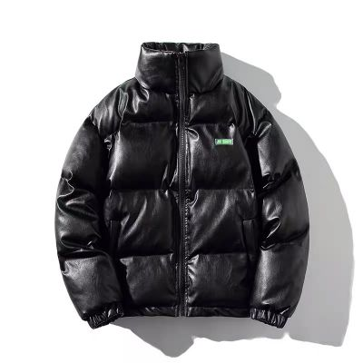Faux leather padded puffer jacket for men