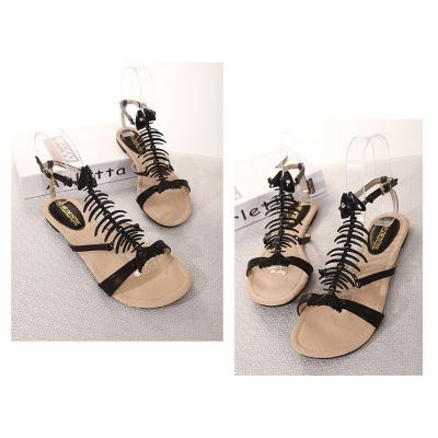 Fishbone Sandals for Women summer Casual Shoes Leather - Black White