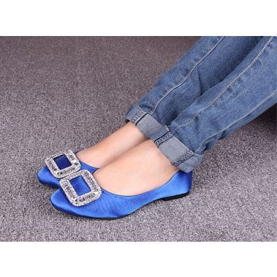 Flat Ballerina Shoes for Women Silk with Rhinestone Square Bow