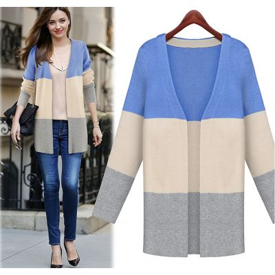 Block Colored Cardigan for Women with Long Sleeves