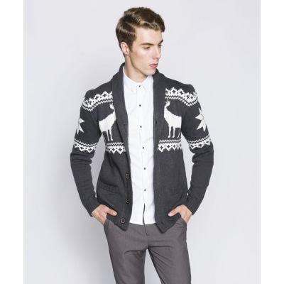 Men's Knit Vest with Winter Deer Pattern