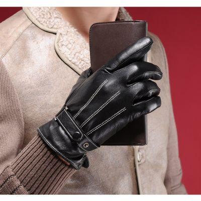 Men's leather gloves with white threading and back button