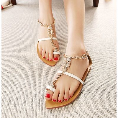 Gold Strap Summer Sandal Shoes for Women with Decorative Chain
