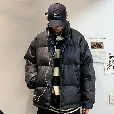 High collar PU leather puffer jacket unisex