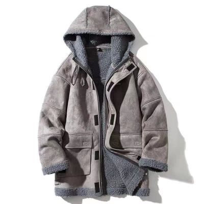 Hooded faux suede winter coat for men