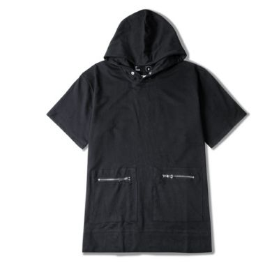 Hoodie Short Sleeve T-shirt for men with front zip pockets