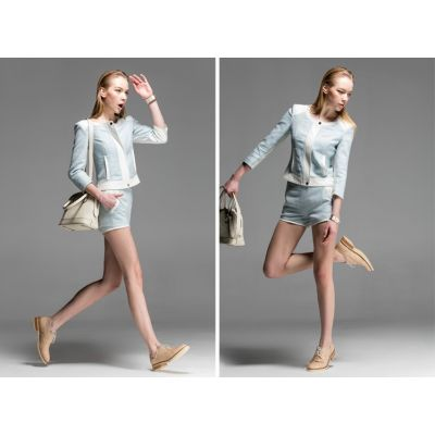 Jacket and Shorts Matching Set for Women PU Leather Lining - Blue
