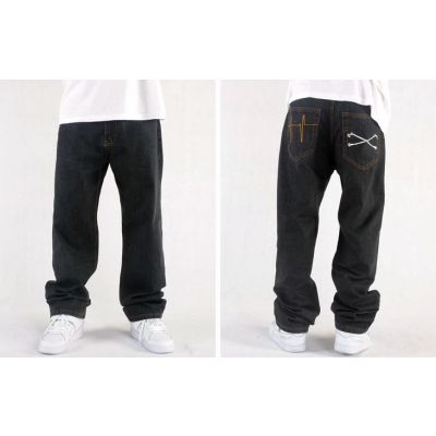Baggy Hip Hop Jeans for Men with Back Pocket Embroidery