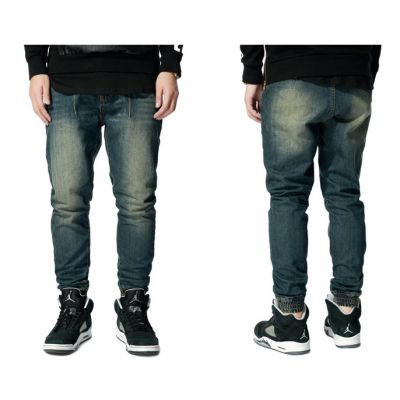 Denim Jeans Joggers Pants for Men with Slim Fit Cut and Elastic Ankles