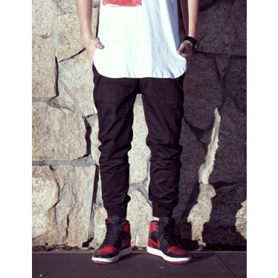 Men's Cotton Jogger Pants with Elastic Ankle and Button Closure