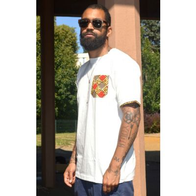J.Wax White T-shirt with Red Brown Dutch Wax Fabric Pocket