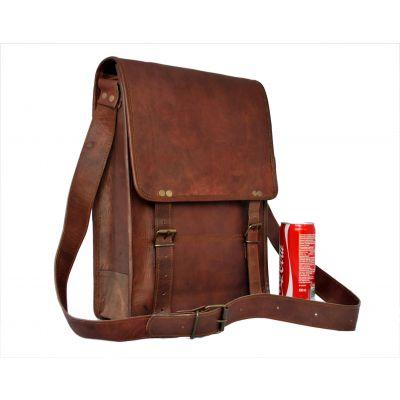 Leather Satchel for Men Women Vertical for iPad Laptop Documents - Large
