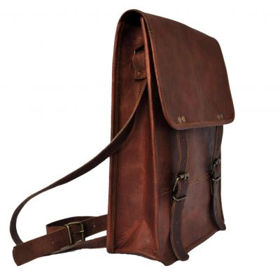 Leather Satchel for Men Women Vertical for iPad Laptop Documents - Small