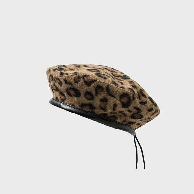 Leopard print beret for women