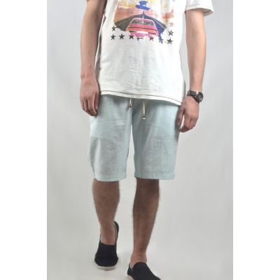 Linen Mid Length Smart Shorts For Men In Light Blue Summer Shorts