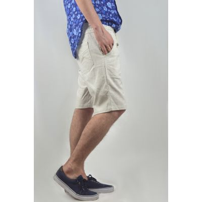 Linen Mid Length Smart Shorts For Men In Light Grey Summer Shorts
