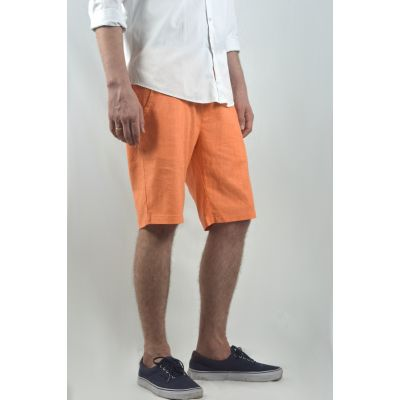 Linen Mid Length Smart Shorts For Men In Orange Summer Shorts