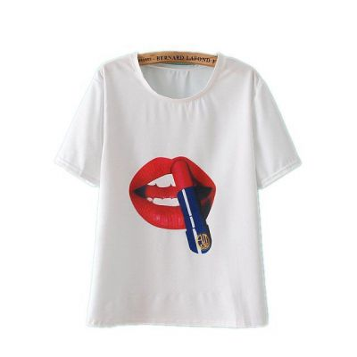 Lipstick Lips T shirt for Women Summer Fashion Loose Fit