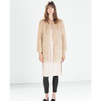 Long Winter Coat for Women with Faux Fur and Round Collar - Beige