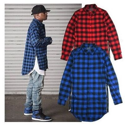 Long Oversize All Over Plaid Shirt for Men